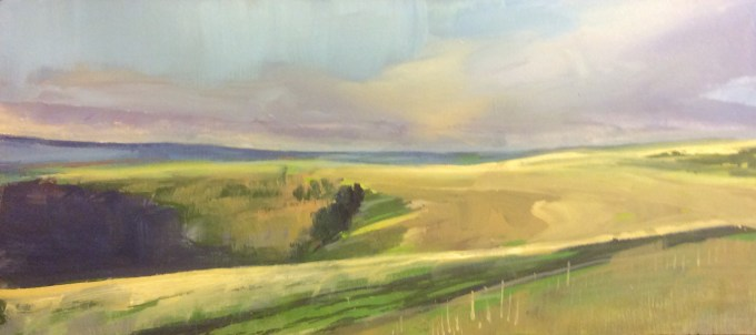 Late Afternoon, February, Oil on Board.