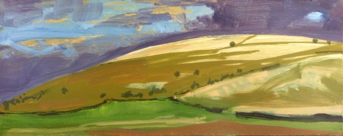 Hill Deverill, Wiltshire, Oil on Board, 10 x 24.5 cm