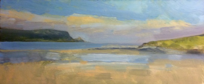 Daymer Bay, Cornwall, February, Oil on Board, 10 x  24.5 cm