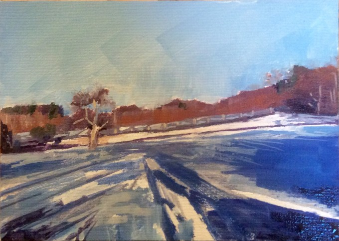 Snow Study, Oil on Board, 12 x 18 cm