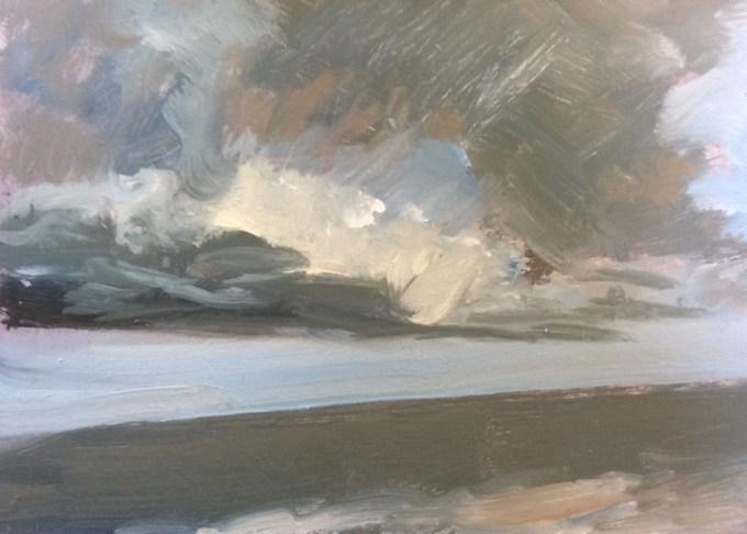 Grey Sea, oil on board, 12 x 24 cm