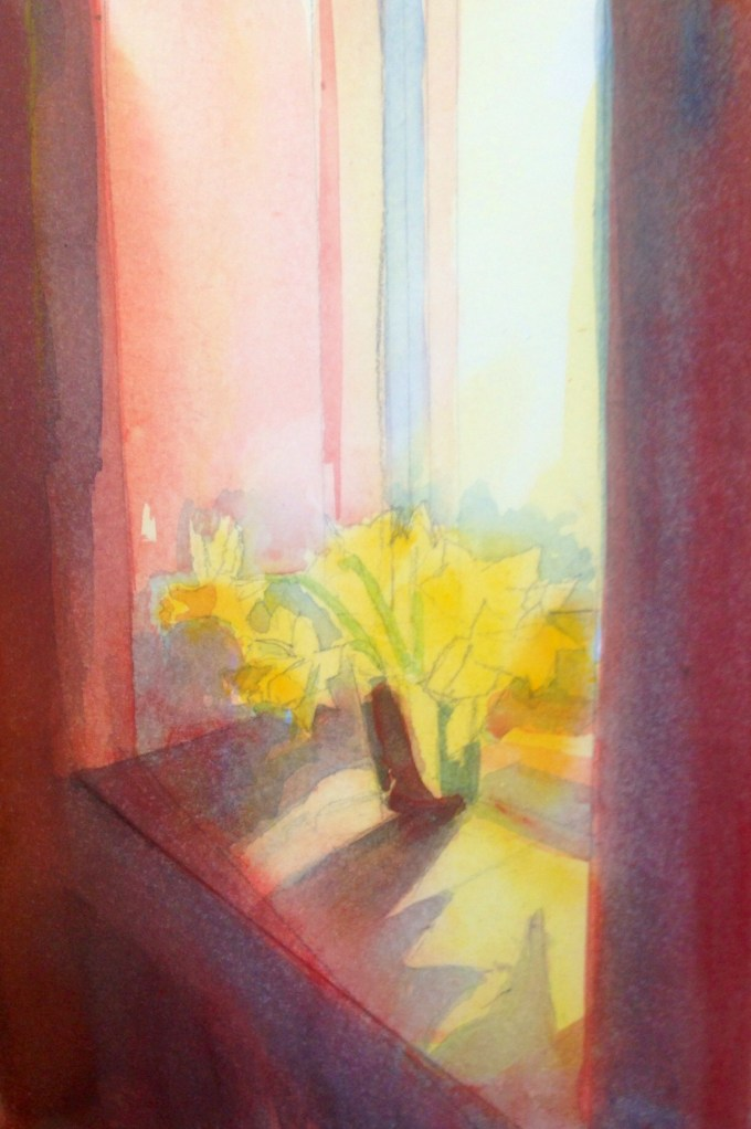 Afternoon Daffodils, watercolour, 12 x 22 cm
