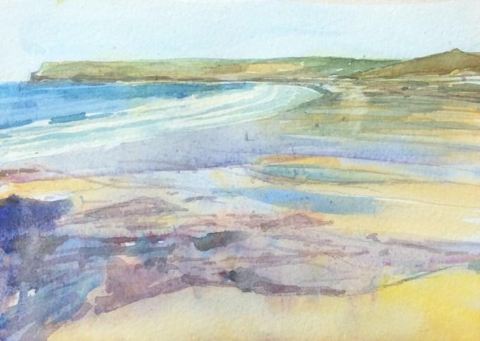 Surf, Polzeath,watercolour, 18 x15 cm