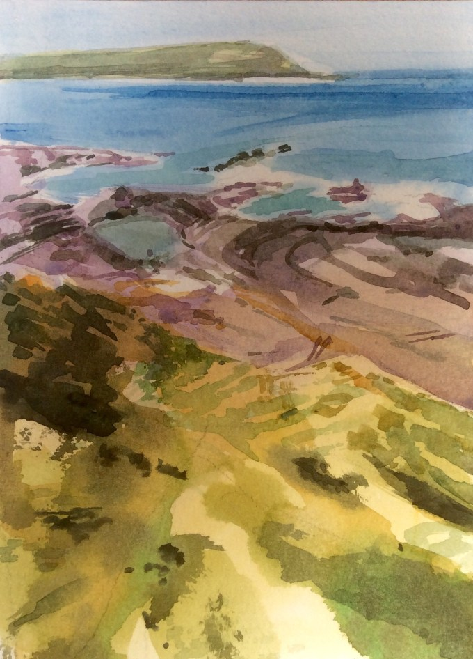 Walk to Polzeath, Watercolour, 15 x 18 cm