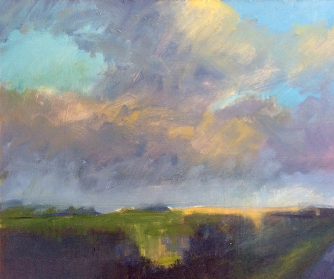 Towards Mere, oil on board, 20  x 22cm