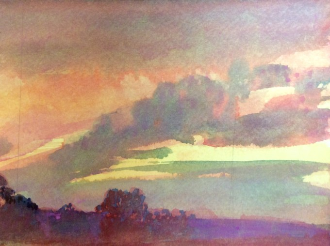 Sunset, watercolour, 22 x 12cm