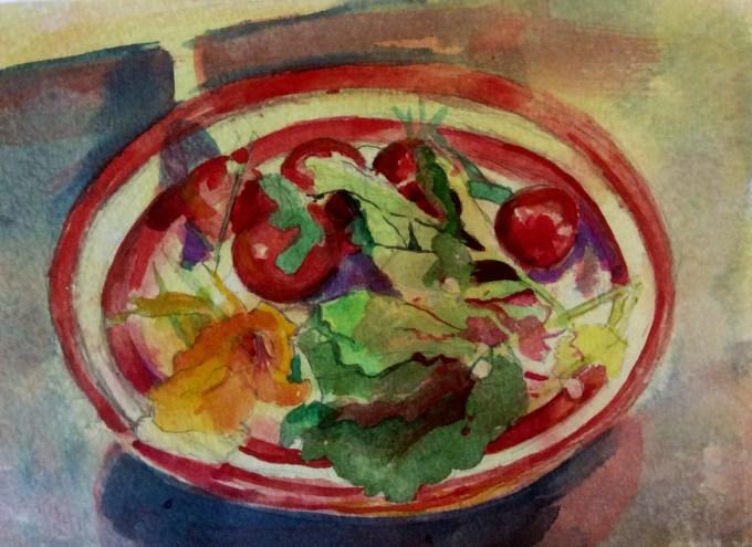 Salad, Watercolour, 18x 15cm