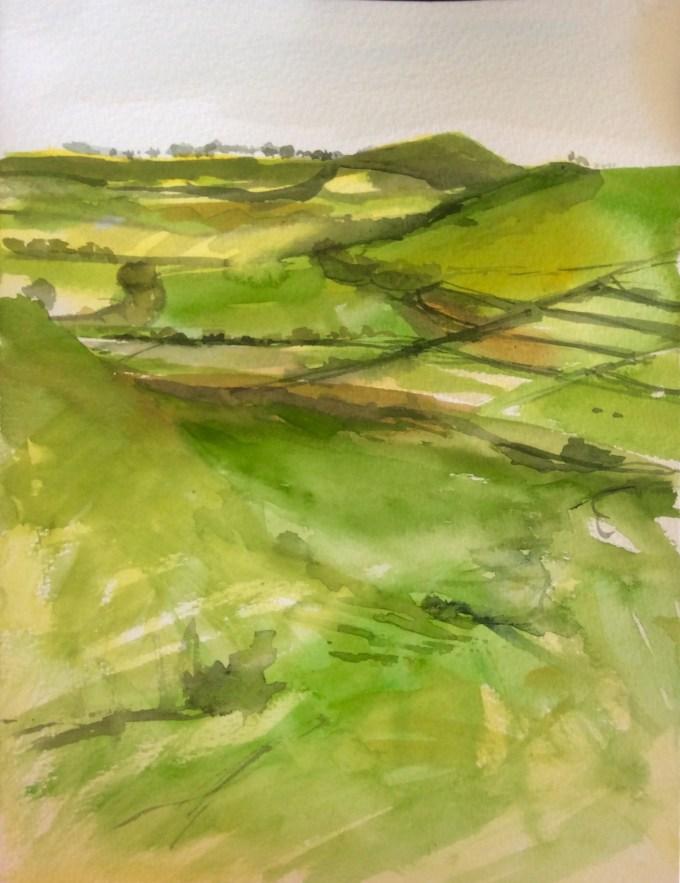 Cadbury Hill, watercolour, 22 x 30 cm