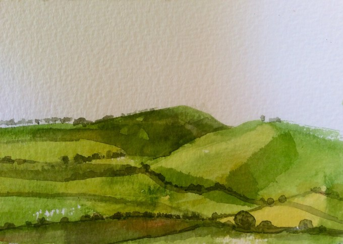 View from Cadbury Hill II, Watercolour,18 x 15 cm