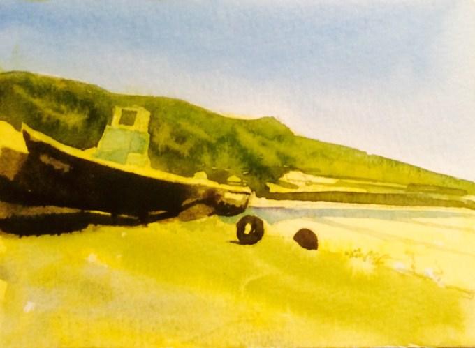 Sunshine at St Ouen, Jersey, watercolour, 15 x 12 cm