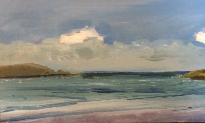 Daymer, Windy Easter, Oil on Board, 15 x 10 cm