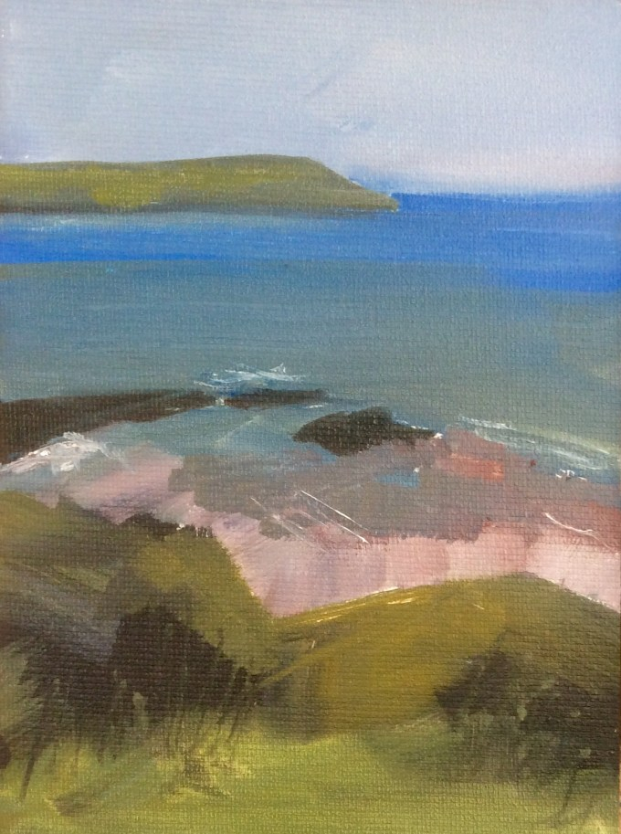 Gully in Sun, oil on Board,, 12x18cm