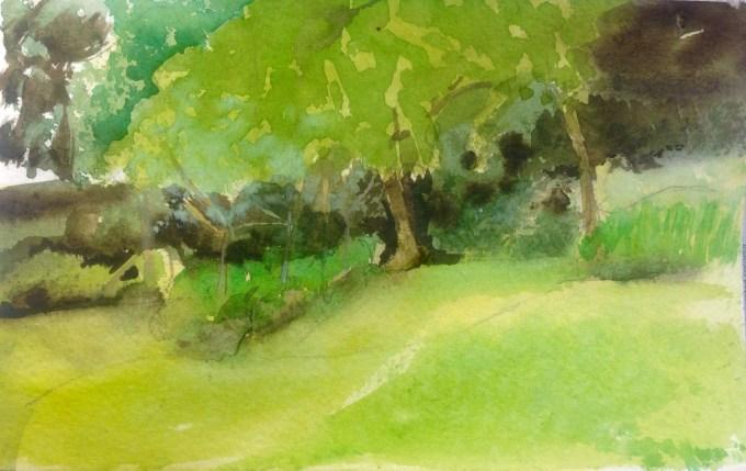 Summer Evening, Watercolour, 22 x 11 cm