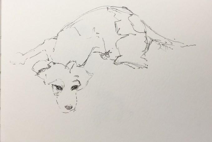 Having a Think, Watercolour 15 x 11 cm