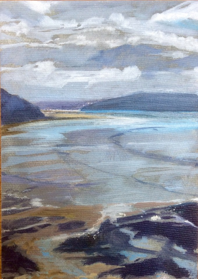 Daymer Bay, evening, Easter, Oil on Board, 12 x 18 cm