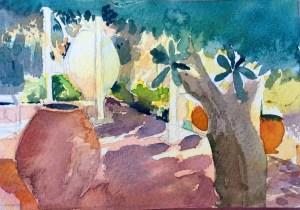 Villa Chrissa, Paxos, Watercolour, 12 x 5 cm