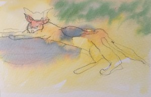 Paxos Kitty, Watercolour, 12 x 5 cm