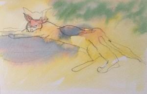 Paxos Kitty, Watercolour, 12 x 5 cm