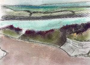 Rock, Cornwall, pastel on paper, pastel on paper, 10 x 5 cm