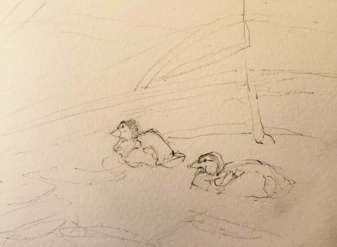 Ducklings II, Watercolour, 11 x 10 cm