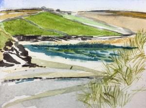 Dunes, Daymer Bay, Watercolour, 11x5cm