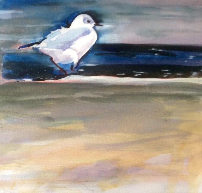 Gull II, Watercolour and Gouache 15 x 12 cm