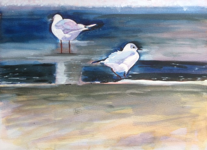 Gulls, New Polzeath II, Watercolour and Gouache 21 x 30 cm