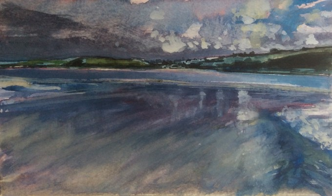Padstow, Low Tide, Cornwall, Watercolour and Gouche, 17 x 12 cm