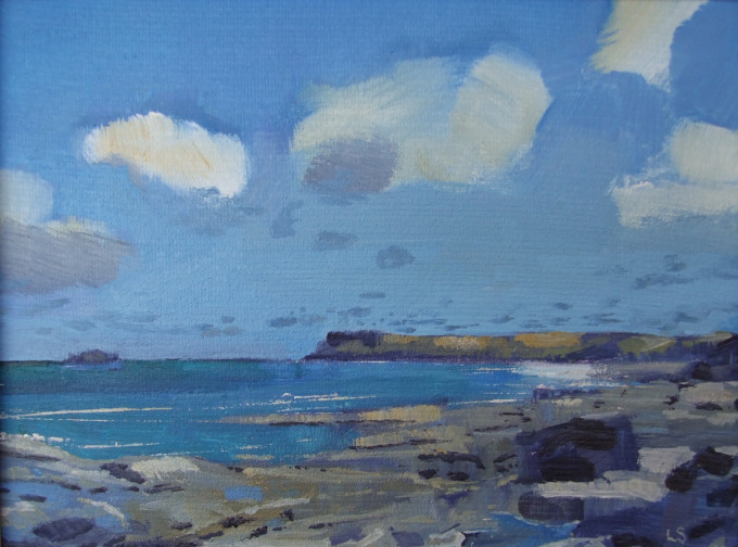 Windy Towards Polzeath, Cornwall, Oil on Board, 23x28cm