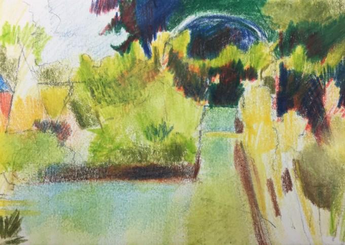 Veggie Patch II, Watercolour 12 x 5 cm