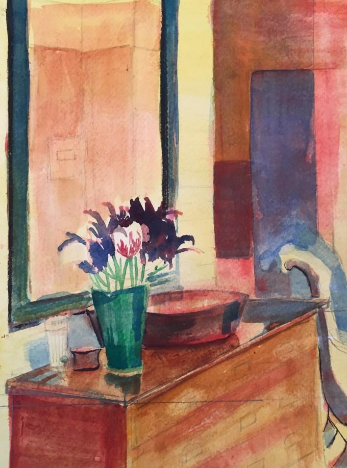 Interior, Watercolour, 22.5 x 17.5cm