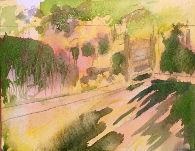 Veggie Patch, Evening, Watercolour, 12 x18 cm