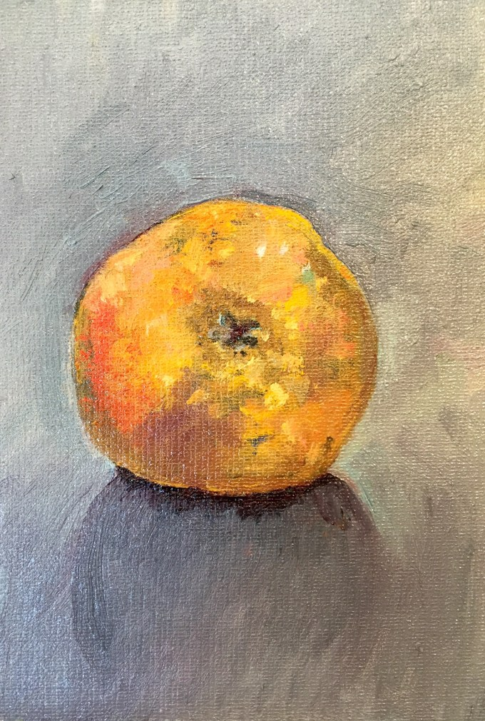 Egremont Russet, Oil on Board, 12x18cm