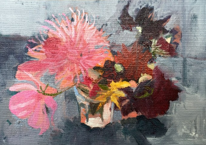 Autumn Blooms, Oil on Board, 18 x 12 cm