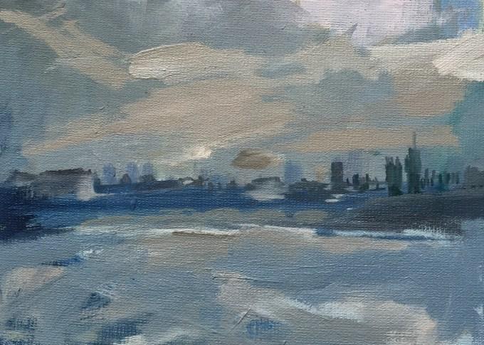 Thames Grey, Oil on Board 18x 12cm