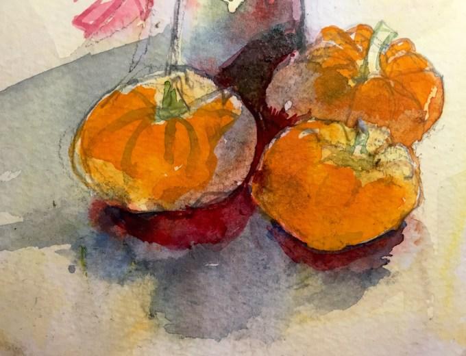 Munchkin Pumkins, Watercolour, 12 x 8 cm