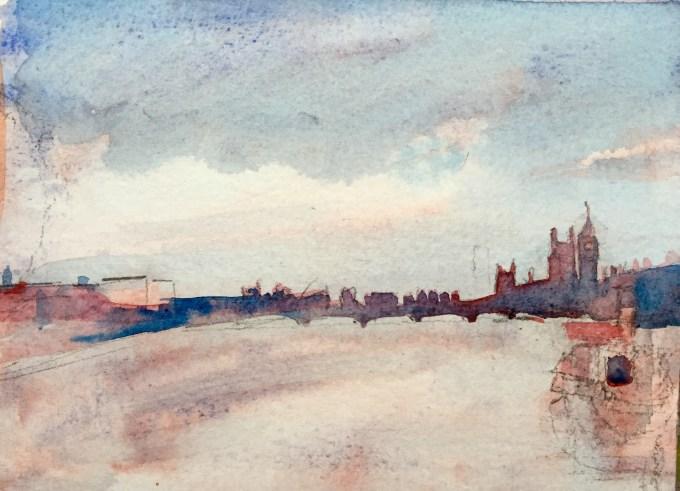 Study for Thames Grey, watercolour 18 x12 cm