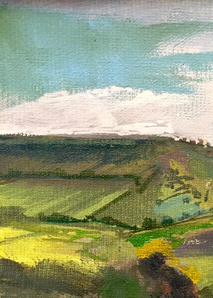 Light on hill, Oil on Board , 18x 12 cm