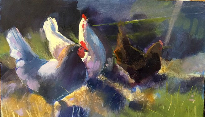 Hens III, oil on board, 32x 22cm