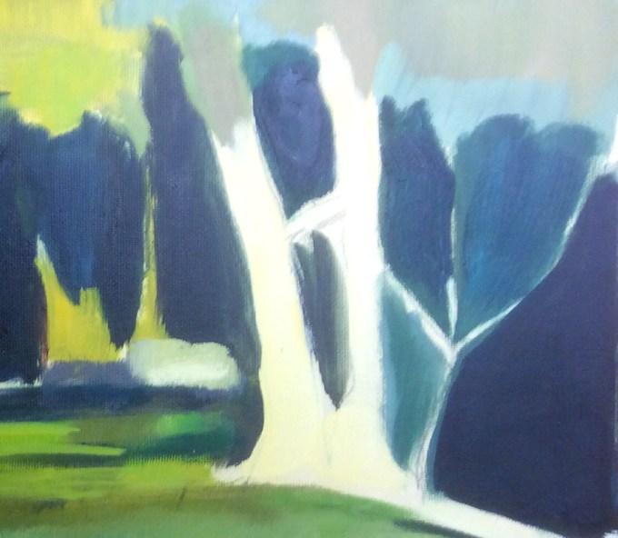 Tree, Oil study on paper.