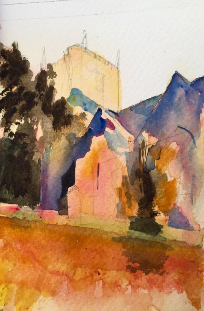 Church, Watercolour, 17 X 12 cm