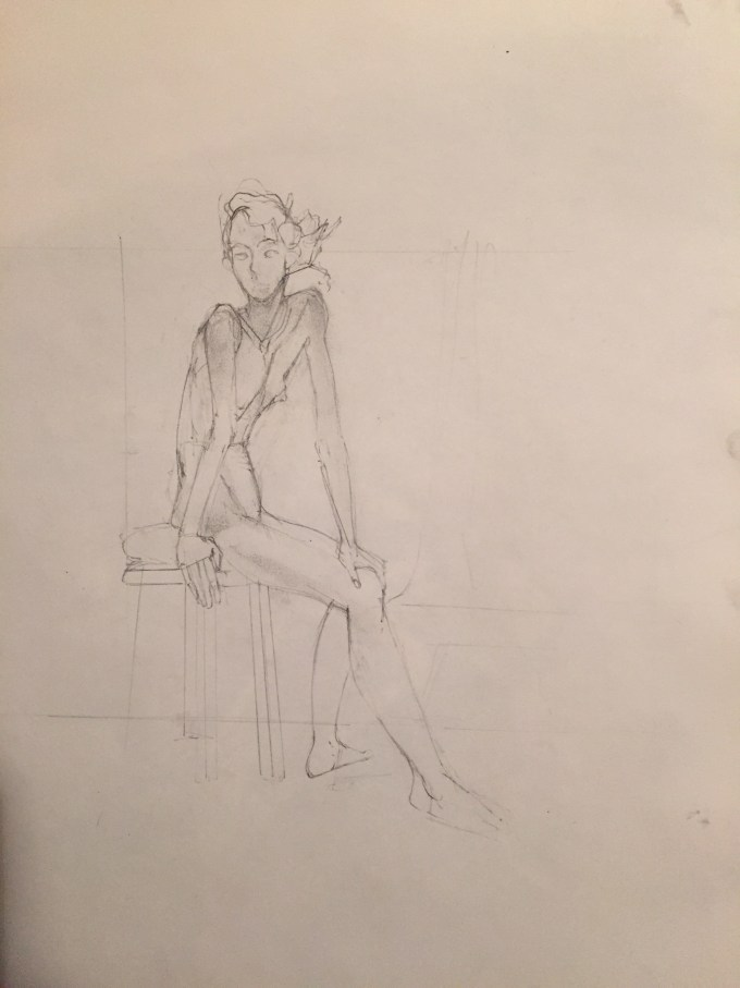 Ruth Sitting, graphite on paper.