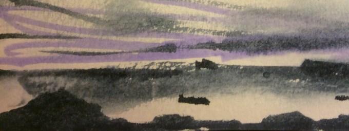 Pentire, Evening, watercolour sketch.