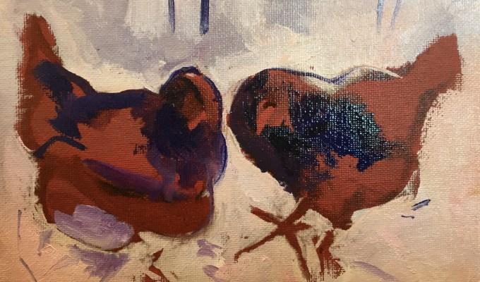 Hens in Snow
