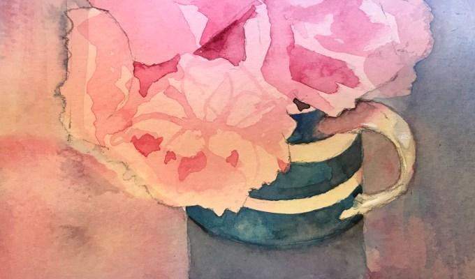 Late blooms in Cornishware mug