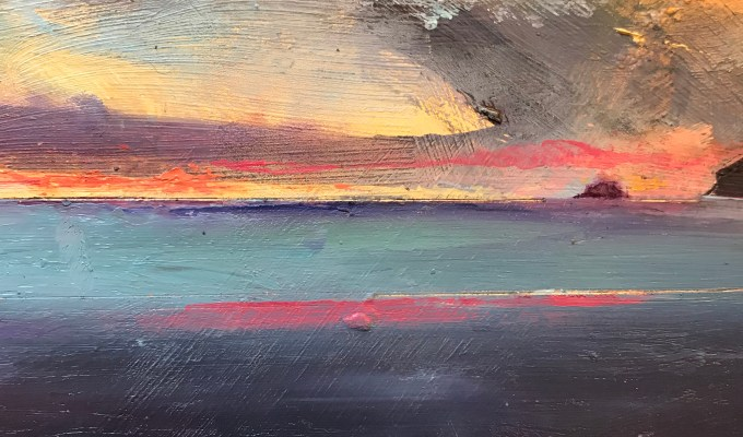 Curious Pink, Polzeath, oil sketch
