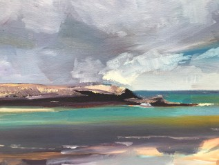 Stepper Point, Camel Estuary, Cornwall, Oil on canvas, detail
