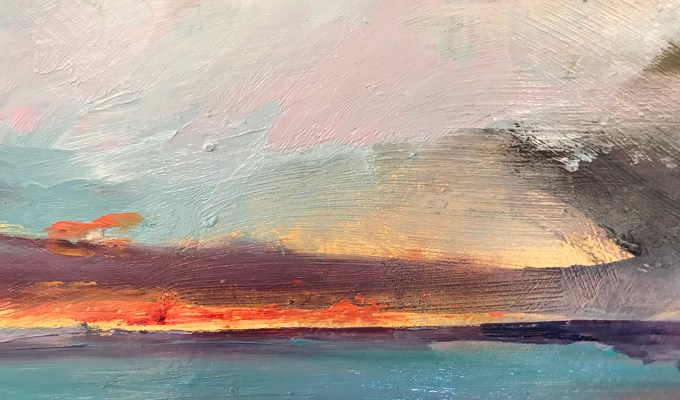 Polzeath Sunset, oil sketch