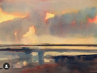 Lemon Sunset, Saunton Sands, Devon, selected for Royal Watercolour Society Contemporary Watercolour Competition, Bankside Gallery, London, March 6th-18th 2020