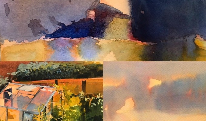 Upcoming Exhibitions this Spring: Lemon Sunset, Saunton Sands, Devon exhibits Bankside Gallery, London, April 2-17, 2020. Old Harry Rocks, Studland and Greenhouse Evening exhibit at The Royal Institute of Painters in Watercolours, Mall Galleries, March 6-18, 2020